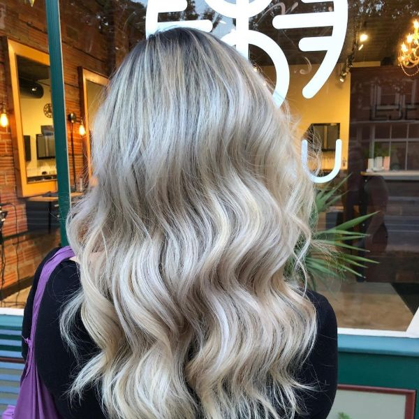 Icy blonde grey color treatment