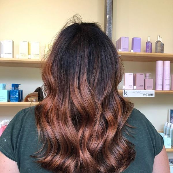 Ombre hair color treatment auburn