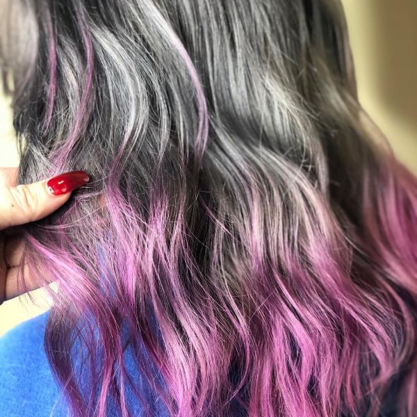 Silver to pink color melt hair treatment